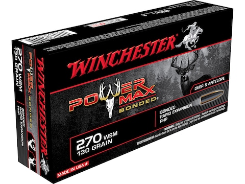 Winchester Power Max Bonded Ammunition 270 Winchester Short Magnum (WSM) 130 Grain Prot...