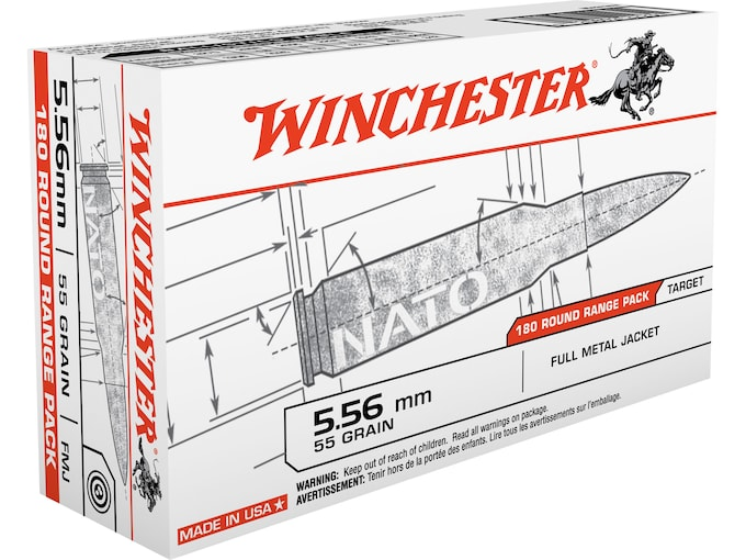 Winchester USA Ammunition 5.56x45mm NATO 55 Grain Full Metal Jacket