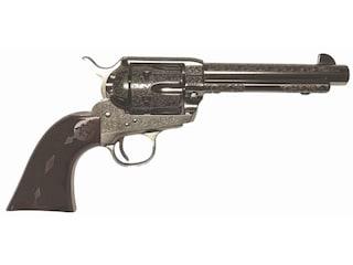"""Cimarron Buffalo Bill Signature Series Laser Engraved Revolver 45 Colt (Long Colt) 5.5"""" Barrel 6-Round Nickel, Walnut"""