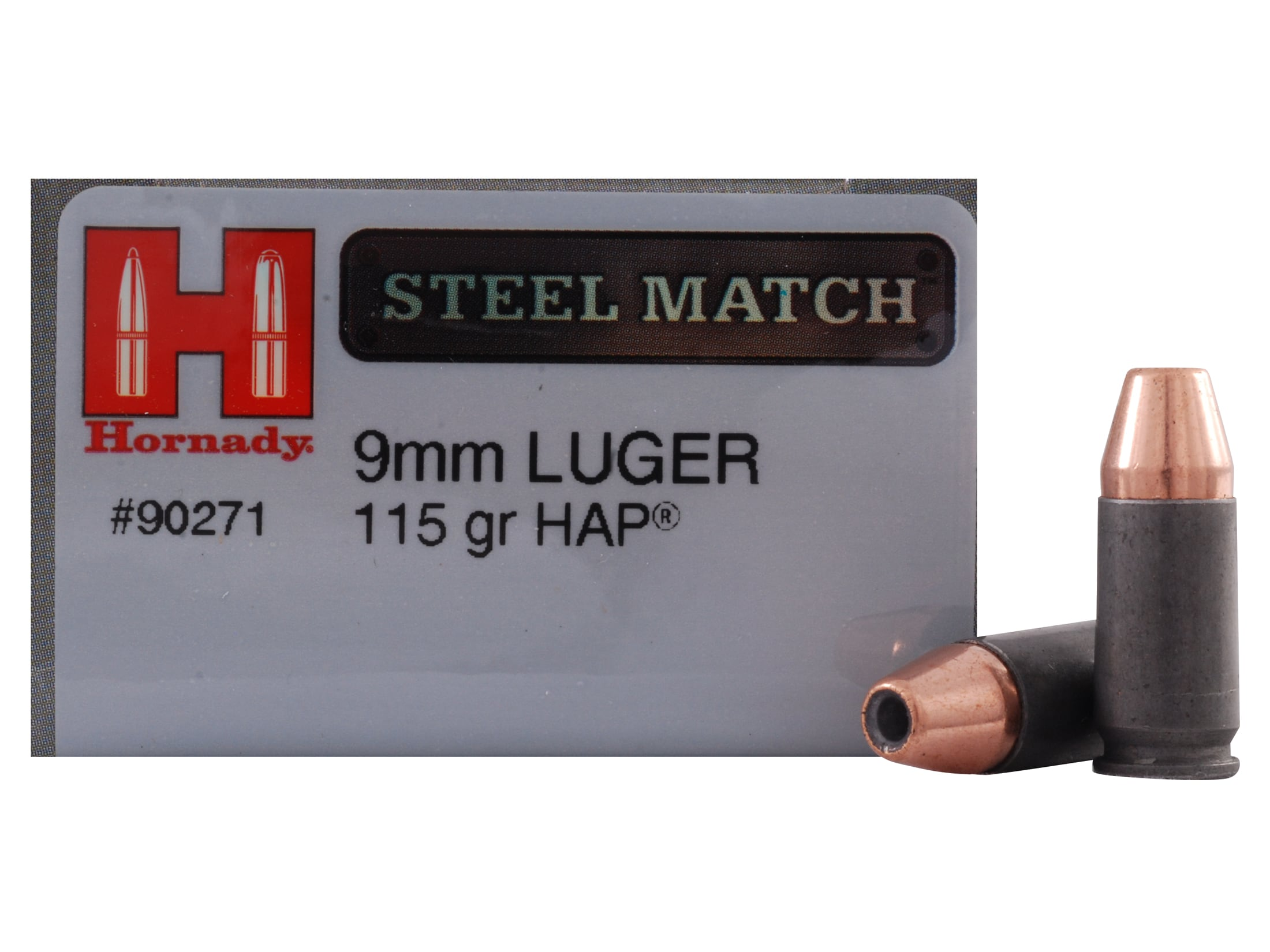 Hornady Steel Match Ammo 9mm Luger 115 Grain Jacketed Hollow Point HAP