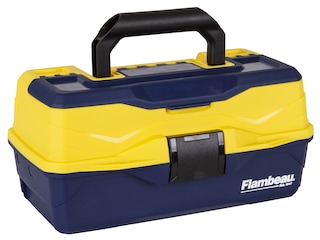 Flambeau Adventurer Kid's 1-Tray Hard Sided Tackle Box with Starter Tackle Kit Blue/Yellow