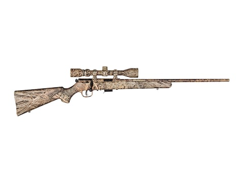 "Savage 93-XP Camo Rifle 22"" Barrel, 5-Round Synthetic Mossy Oak Brush Camo Stock, 3-9x4..."