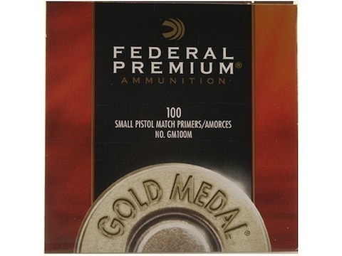 Federal Premium Gold Medal Small Pistol Match Primers #100M Box of 1000 (10 Trays of 100)