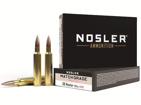 Nosler Match Grade Ammunition 30 Nosler 190 Grain Custom Competition Hollow Point Boat ...