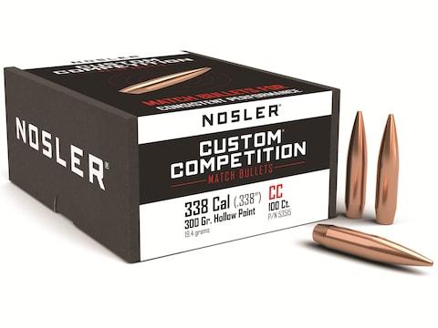 Nosler Custom Competition Bullets 338 Caliber (338 Diameter) 300 Grain Hollow Point Boa...