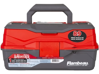 Flambeau Adventurer 1-Tray Tackle Box with 89-Piece Tackle Kit Red/Gray
