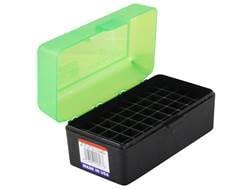 MTM Flip-Top Ammo Box 22-250 Remington, 250 Savage, 35 Remington 50-Round Plastic Clear Green and...