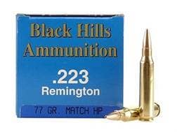Black Hills Remanufactured Ammunition 223 Remington 77 Grain Sierra MatchKing Hollow Point Boat T...