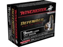Winchester PDX1 Defender Ammunition 9mm Luger 147 Grain Bonded Jacketed Hollow Point