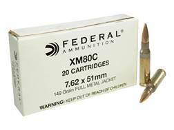 Federal Ammunition 7.62x51mm NATO 149 Grain XM80C Full Metal Jacket