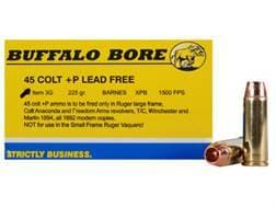Buffalo Bore Ammunition 45 Colt (Long Colt) +P 225 Grain Barnes XPB Hollow Point Lead-Free Box of 20