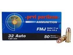 Prvi Partizan Ammunition 32 ACP 71 Grain Full Metal Jacket Box of 50