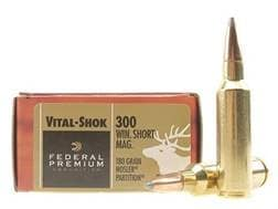 Federal Premium Vital-Shok Ammunition 300 Winchester Short Magnum (WSM) 180 Grain Nosler Partitio...