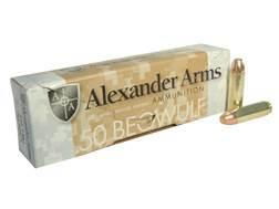 Alexander Arms Ammunition 50 Beowulf 335 Grain Rainier Plated Flat Point Box of 20
