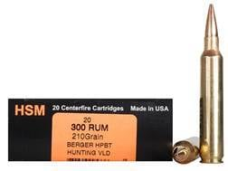 HSM Trophy Gold Ammunition 300 Remington Ultra Magnum 210 Grain Berger Hunting VLD Hollow Point B...