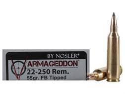 Nosler Varmageddon Ammunition 22-250 Remington 55 Grain Tipped Flat Base Box of 20