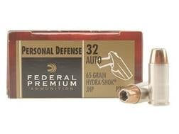 Federal Premium Personal Defense Ammunition 32 ACP 65 Grain Hydra-Shok Jacketed Hollow Point