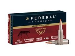 Federal Premium Varmint Ammunition 224 Valkyrie 60 Grain Nosler Ballistic Tip