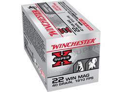 Winchester Super-X Ammunition 22 Winchester Magnum Rimfire (WMR) 40 Grain Jacketed Hollow Point