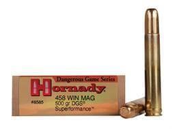 Hornady Dangerous Game Superformance Ammunition 458 Winchester Magnum 500 Grain DGS Solid Round N...