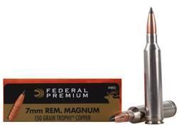 Federal Premium Vital-Shok Ammunition 7mm Remington Magnum 150 Grain Trophy Copper Tipped Boat Ta...