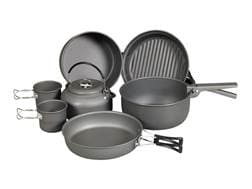 NDUR 9 Piece Cookware Mess Kit Aluminum Black