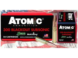 Atomic Ammunition 300 AAC Blackout Subsonic 220 Grain Sierra MatchKing Hollow Point Boat Tail Box...
