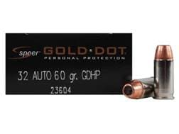 Speer Gold Dot Ammunition 32 ACP 60 Grain Jacketed Hollow Point