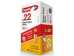 Aguila Super Extra High Velocity Ammunition 22 Short 29 Grain Plated Lead Round Nose