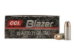 Blazer Ammunition 32 ACP 71 Grain Total Metal Jacket