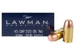 Speer Lawman Ammunition 45 GAP 200 Grain Total Metal Jacket Box of 50