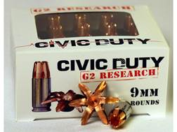 G2 Research Civic Duty Ammunition 9mm Luger 94 Grain Expanding Solid Copper Lead-Free Box of 20