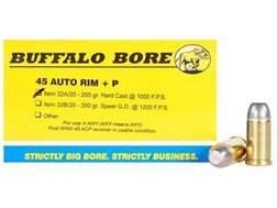 Buffalo Bore Ammunition 45 Auto Rim (Not ACP) +P 255 Grain Hard Cast Lead Flat Nose Box of 20