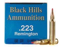 Black Hills Remanufactured Ammunition 223 Remington 60 Grain Hornady V-MAX Box of 50
