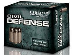 Liberty Civil Defense Ammunition 45 Colt (Long Colt) 78 Grain Fragmenting Hollow Point Lead-Free ...