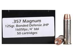 DoubleTap Ammunition 357 Magnum 125 Grain Bonded Defense Jacketed Hollow Point Box of 50
