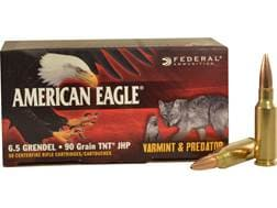 Federal American Eagle Varmint and Predator Ammunition 6.5 Grendel 90 Grain Jacketed Hollow Point