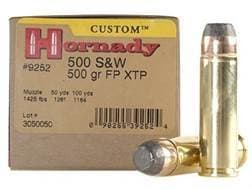 Hornady Custom Ammunition 500 S&W Magnum 500 Grain XTP Jacketed Flat Nose Box of 20