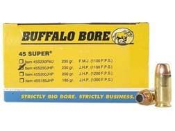 Buffalo Bore Ammunition 45 Super 230 Grain Jacketed Hollow Point Box of 50