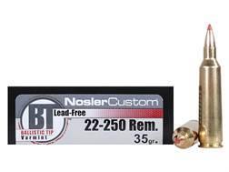 Nosler Trophy Grade Ammunition 22-250 Remington 35 Grain Ballistic Tip Varmint Lead-Free Box of 20