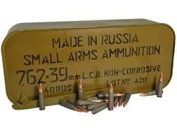 TulAmmo Ammunition 7.62x39mm 122 Grain Full Metal Jacket (Bi-Metal) Steel Case Berdan Primed Mili...
