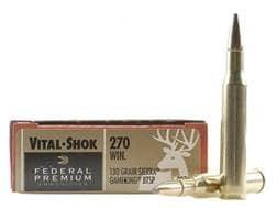 Federal Premium Vital-Shok Ammunition 270 Winchester 130 Grain Sierra GameKing Soft Point Boat Ta...