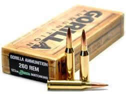 Gorilla Ammunition 260 Remington 123 Grain Sierra MatchKing Hollow Point Boat Tail Box of 20