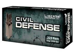 Liberty Civil Defense Ammunition 223 Remington 55 Grain Fragmenting Hollow Point Lead-Free Box of 20