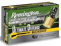 "Remington Ultimate Defense Buckshot Ammunition 12 Gauge 3"" Reduced Recoil 00 Buckshot 15 Pellets"