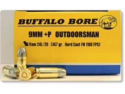 Buffalo Bore Ammunition Outdoorsman 9mm Luger +P 147 Grain Hard Cast Lead Flat Nose Box of 20