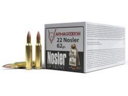 Nosler Varmageddon Ammunition 22 Nosler 62 Grain Hollow Point Flat Base Box of 50