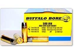 Buffalo Bore Ammunition 500 JRH (500 S&W Short) 440 Grain Hard Cast Lead Flat Nose Box Low Recoil...