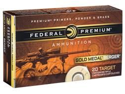 Federal Premium Gold Medal Berger Ammunition 6.5 Creedmoor 130 Grain Berger Hybrid Open Tip Match