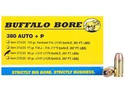 Buffalo Bore Ammunition 380 ACP +P 90 Grain Jacketed Hollow Point Box of 20